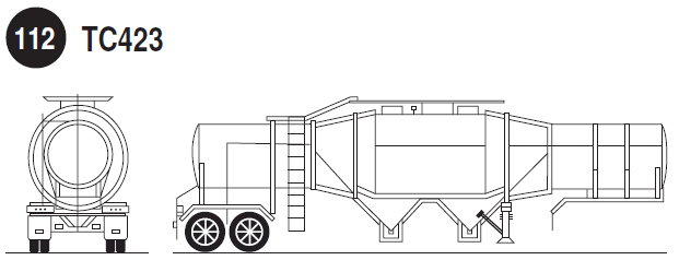 TC423 emulsion and water-gel explosives tank. Rear and side view of emulsion and water-gel explosives tank trailer. Guide 112.
