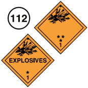 "Class 1 placards. Square on a point. Orange background. Starting from the bottom, the number 1, above it, * (asterisk) which corresponds to Compatibility Group Letter and ** (double asterisk) for Division. Symbol of an exploding bomb in top portion. The word ""Explosives"" may be in the centre. Guide 112."