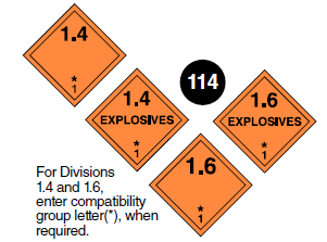 "Class 1.4 + 1.6 placards. Square on a point. Orange background. Starting from the bottom, the number 1, above it, * (asterisk) which corresponds to Compatibility Group Letter. Number 1.4 or 1.6 in top portion. The word ""Explosives"" may be in the centre. Guide 114."