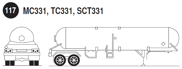 MC331, TC331, SCT331. Rear and side view of a liquefied compressed gas tank trailer. Guide 117.