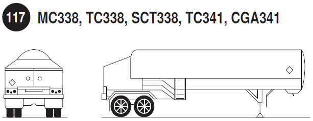 Compressed Gas/Tube Trailer. Rear and side view of a compressed gas tube trailer. Guide 117.