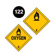 "Class 2.2(5.1) placards. Square on a point. Yellow background. Number 2 in bottom portion. Symbol of a flame over a circle (flaming ""O"") in top portion. The word ""Oxygen"" may be in the centre. Guide 122."