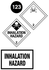"Class 2.3 placards. Square on a point. White background. Number 2 in bottom portion. Symbol of a skull and crossbones in top portion. The words ""Toxic Gas"" or ""Inhalation Hazard"" may be in the centre. For the latter, the top portion with the symbol is in a black diamond. Guide 123."