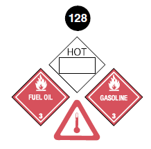 "Class 3 placard (Fuel Oil). Square on a point. Red background. Number 3 in bottom portion. Symbol of a flame in top portion. The words ""Fuel Oil"" are in the centre. Guide 128."
