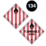 "Class 4.1 placards. Square on a point. White background with vertical red stripes equally spaced. Number 4 in bottom portion. Symbol of a flame in top portion. The words ""Flammable Solid"" may be in the centre. Guide 134."