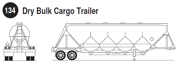 Dry Bulk Cargo Trailer. Rear and side view of a dry bulk cargo trailer. Guide 134.
