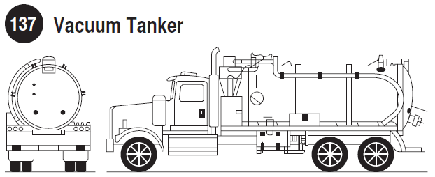 Vacuum Loaded Tank. Rear and side view of a vacuum loaded tank trailer. Guide 137.