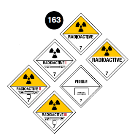 "Class 7 placards. Square on a point. Yellow top half, white lower half (except Category I labels: white background). Number 7 in bottom portion. Symbol of a trefoil in top portion. The word ""Radioactive"" just below the center line. For Category I, II and III labels: red roman numerals after the word ""Radioactive"" and descriptive text underneath. Guide 163."