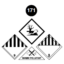 "Class 9 placards. Square on a point. White background. Number 9 in bottom portion. Vertical black stripes equally spaced in top half. There is also the Environmentally Hazardous Substance Mark: white background with symbol of a dead fish and dead tree in the centre. Marine pollutant Mark. Triangle. The symbol of a fish with an X over it and text underneath is ""Marine Pollutant"". Guide 171."