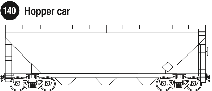 Hopper Car Dry Bulk. Side view of a hopper car for dry bulk. Guide 140.