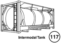 Intermodal Tank. Side view of an intermodal tank. Guide 117.