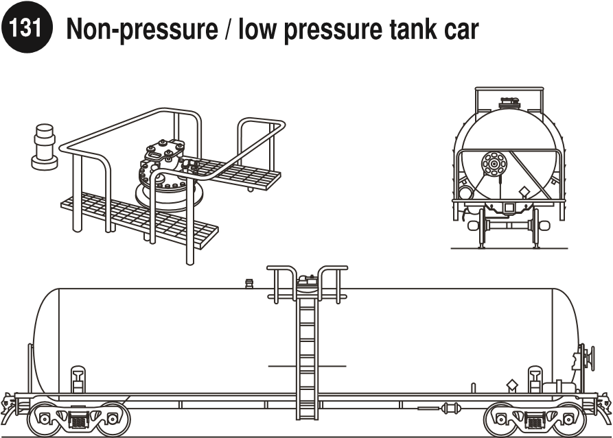 Low Pressure Tank Car Liquids (Closed Dome and Outlets on top). Side and rear view of a low pressure tank car for liquids and image of the dome of the rail car. Guide 131.