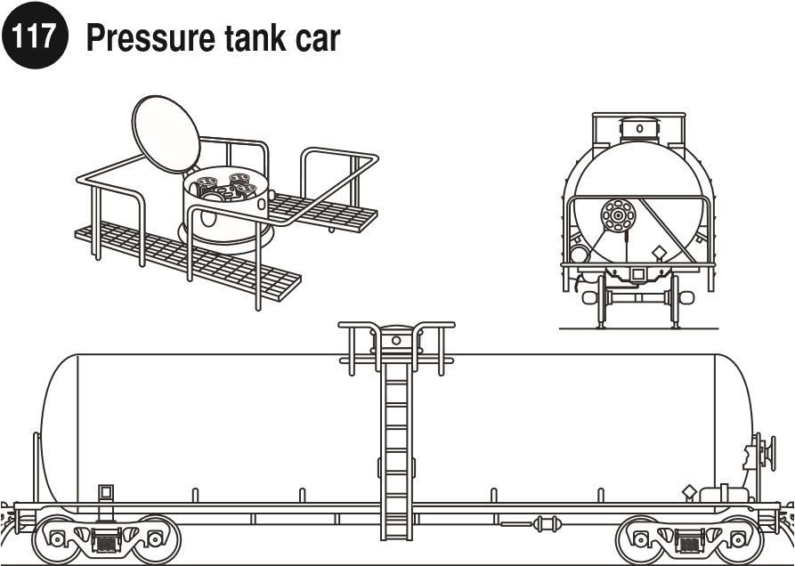 Pressure Tank Car Compressed Liquefied Gases (Closed Dome Only on top). Side and rear view of a pressure tank car for compressed liquefied gases and image of the dome of the rail car. Guide 117.